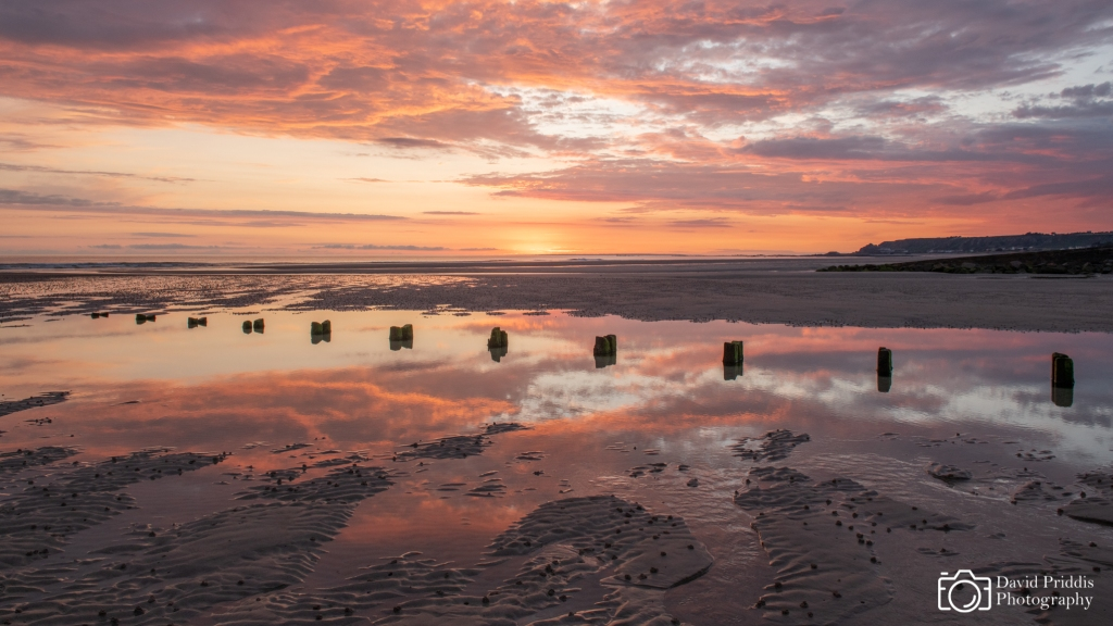 Wooden Posts, reflective pool, sunset, st. ouen, Jersey, Channel Island